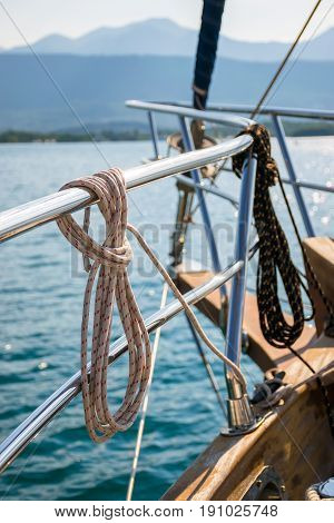 The Mooring Line Is Wound On The Railing. Preparation For Departure To The Open Sea.
