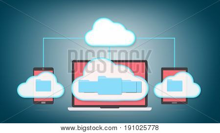 Devices of smart phone, tablet and laptop with folders in the cloud. Cloud storage concept.