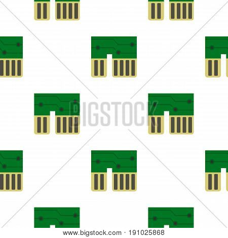 Computer chipset pattern seamless flat style for web vector illustration