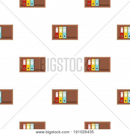 Colorful office folders on wooden shelf pattern seamless flat style for web vector illustration