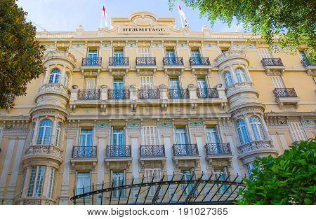 Monaco, Monte Carlo - September 17, 2016: Facade of Hotel Hermitage Monte-Carlo