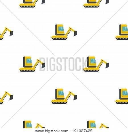 Yellow mini excavator pattern seamless flat style for web vector illustration