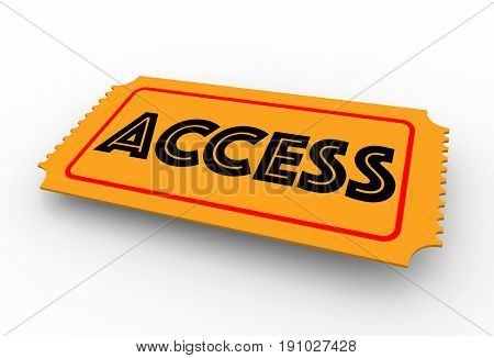 Access Ticket Pass Admission 3d Illustration