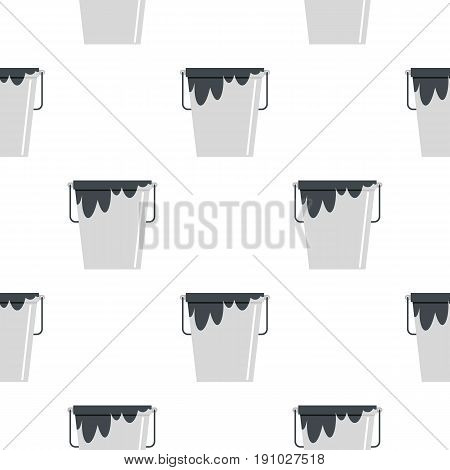 Bitumen emulsion in grey bucket pattern seamless flat style for web vector illustration