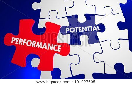 Performance Potential Puzzle Piece Fill Gap Words 3d Illustration