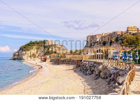 Sandy beach at the Sanctuary of Santa Maria Island - Tropea Calabria Italy