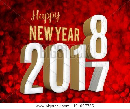 Happy new year 2018 (3d rendering) change year from 2017 on red glitter bokeh lights backgroundNew year and Christmas greeting card.