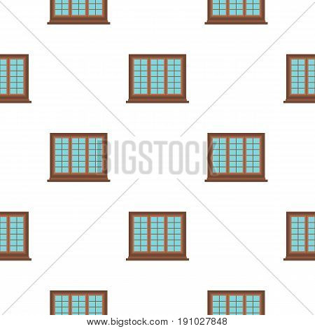 Wooden brown tricuspid window pattern seamless flat style for web vector illustration