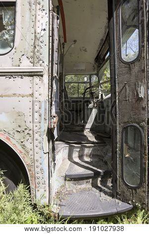Drivers Seat In Front Abandoned Bus