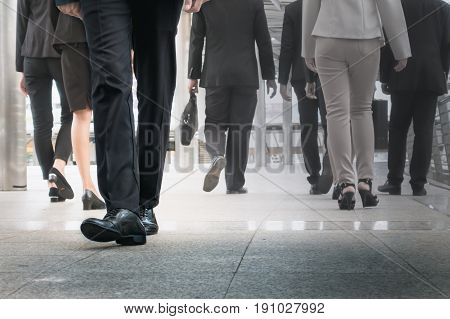 Businessman Legs Walking Go Forward As Outstanding By Other Legs Walking As Opposite Direction On Bu