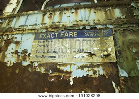 Aging And Peeling Fare Sign