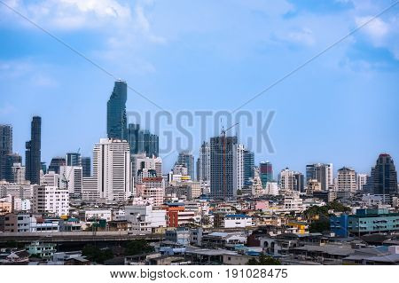 Business Cityscape Area And Modern Building City And Transportation Urban Area And Blue Sky Of Bangk