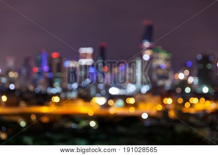 Abstract Defocused Bokeh Business Cityscape Area At Night Light Sky Background