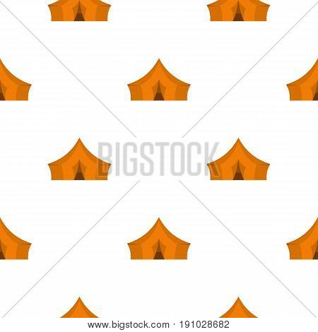 Orange tent for forest camping pattern seamless flat style for web vector illustration
