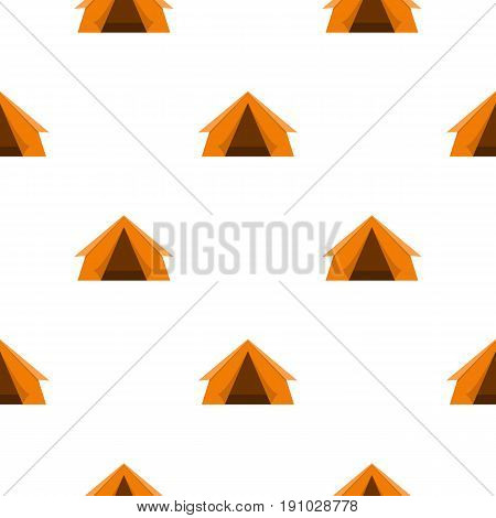 Orange touristic camping tent pattern seamless flat style for web vector illustration