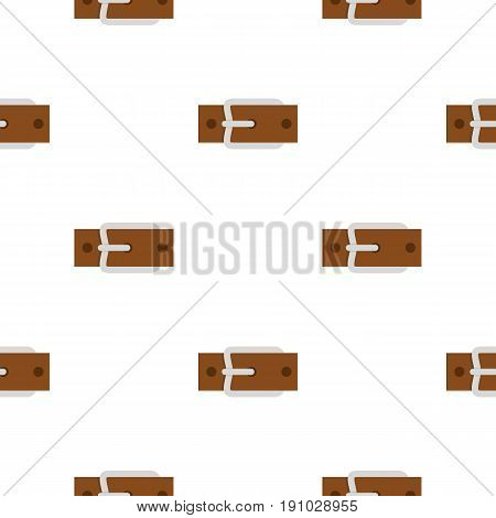 Leather belt with silver buckle pattern seamless flat style for web vector illustration