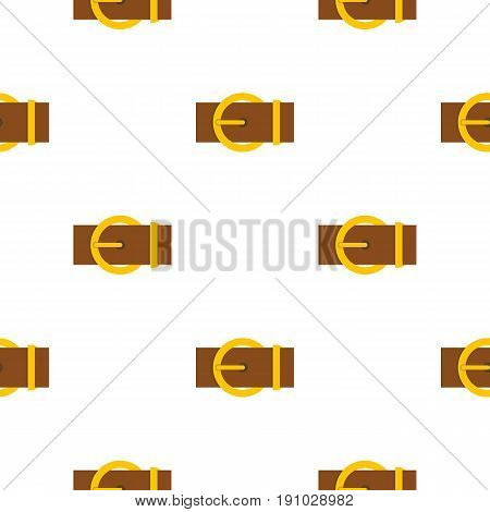 Brown belt with a gold round buckle pattern seamless flat style for web vector illustration