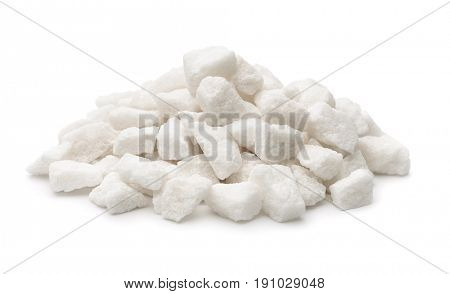 Pile of organic lump sugar isolated on white