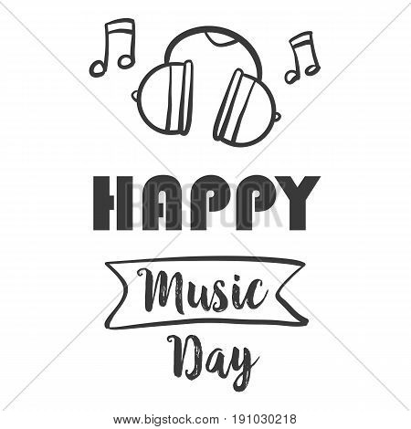 Happy music day vector illustration collection stock