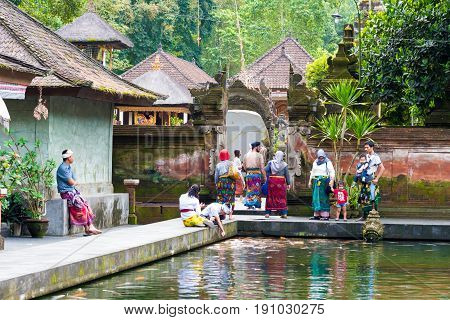 Balinese People Feeding The Koi Carps At Tirta Empul Temple, Bali