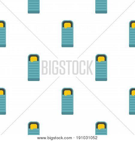 Blue sleeping bag pattern seamless flat style for web vector illustration