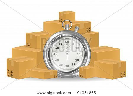 a steel stopwatch with shipping carton box