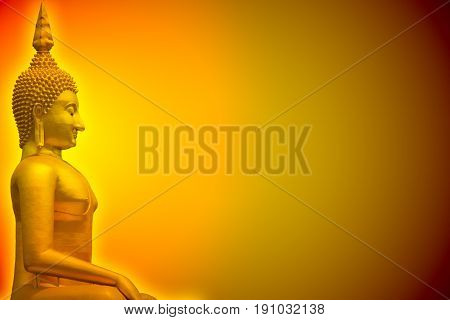Golden Buddha Glow Light In Dark With Space For Background Or Postcard Or Wallpaper Design.