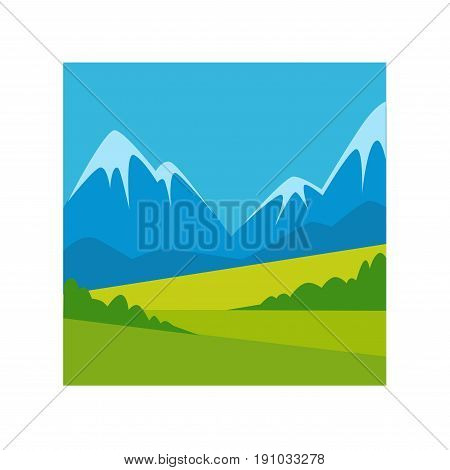 Spectacular landscape with green valley and high blue mountains with snowy tops vector illustration in square frame on white background. Peaceful natural view of countryside uninhabited place.