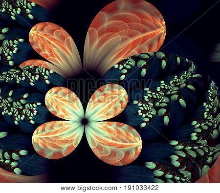Computer generated fractal artwork with a decent textured garden flowers