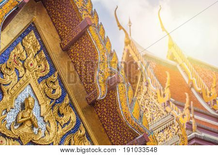 Thai Temple, Beautiful Roof Handcraft Architecture Of Wat Phra Kaew Or The Temple Of The Emerald Bud