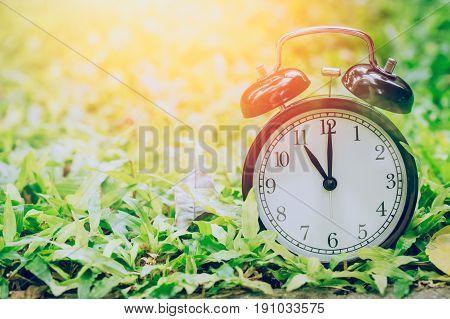 11 O'clock Retro Clock In The Garden Grass Field With Sun Light.