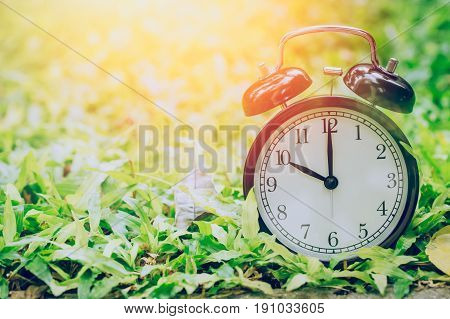 10 O'clock Retro Clock In The Garden Grass Field With Sun Light.