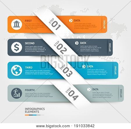 Business Infographics Elements Template. Vector Illustrations. Can Be Used For Workflow Layout, Bann