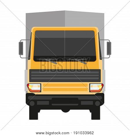 Lorry with yellow cabin and grey trailer isolated on white front view. Vector colorful illustration in flat design of huge transportation mean that delivers everything. Truck delivery template