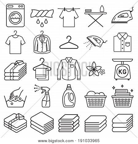 laundry service icons set . Vector illustrations.