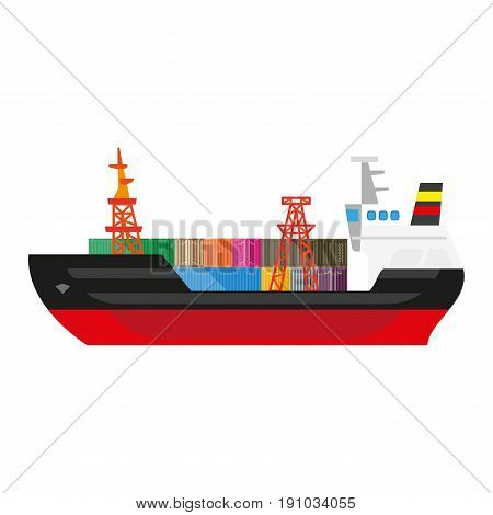 Big cargo ship with black and red colors of boards full of colorful metal sealed containers and high cranes for freight loading that placed on deck isolated vector illustration on white background.