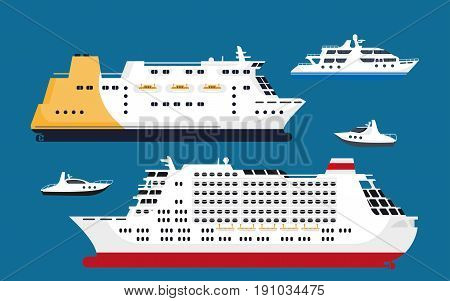 Cruise passenger liners collection in various shapes and sizes isolated on blue background. Huge luxurious ships for travelling by ocean or sea and transporting big amount of people vector poster