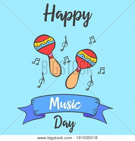 Happy music day doodle vector art collection stock