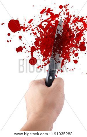 Hand Hold Knife Isolated On White, Halloween Bloody Murder Or Death Crime Killer Violation Concept.