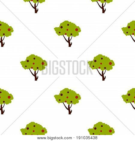 Tall tree with fruits pattern seamless flat style for web vector illustration