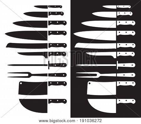 Butcher knife silhouette sharp . Vector illustrations.