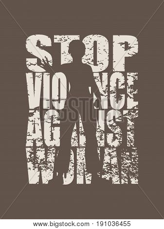 A young woman holding her hand in front to show stop gesture. Stop Domestic Violence Creative Social Design Concept. Vector illustration. Grunge texture effect