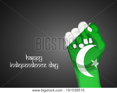illustration of hand in Pakistan Flag background with Happy Independence Day text on the occasion of Pakistan Independence day