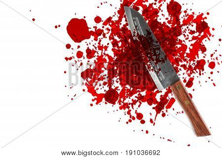 Knife With Grunge Of Blood With Space For Text, Bloody Murder Or Death Crime Killer Violation Concep