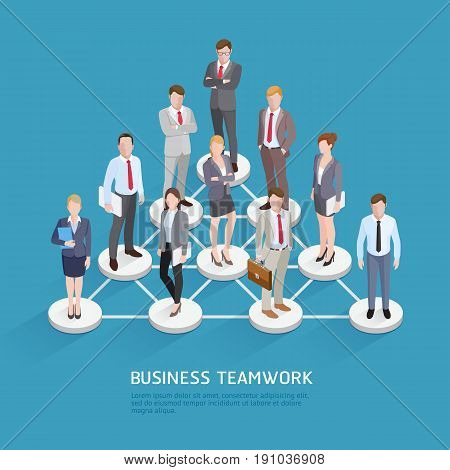 Business Teamwork Concepts. Business People Standing At Dots And Connected Lines. Isometric Vector Illustration.