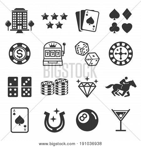 Casino icons black color set. Vector illustrations.