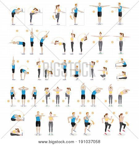 Man and woman workout fitness aerobic and exercises. Vector illustrations.