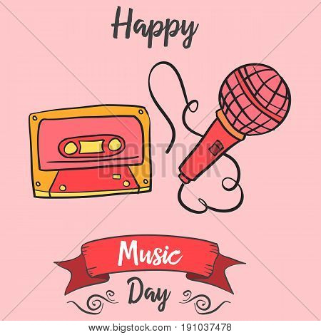 Celebration music day card vector art collection stock