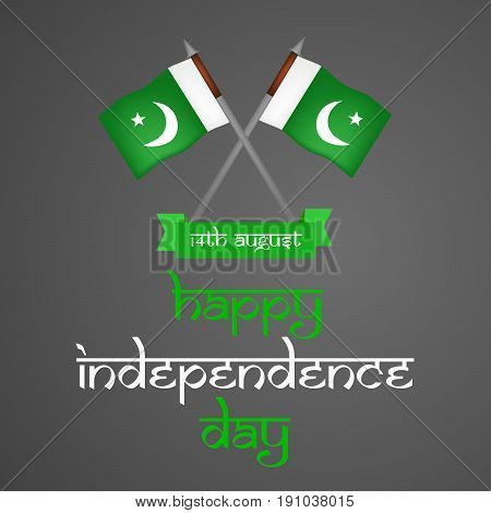 illustration of Pakistan flags with happy independence day text on the occasion of Pakistan Independence day