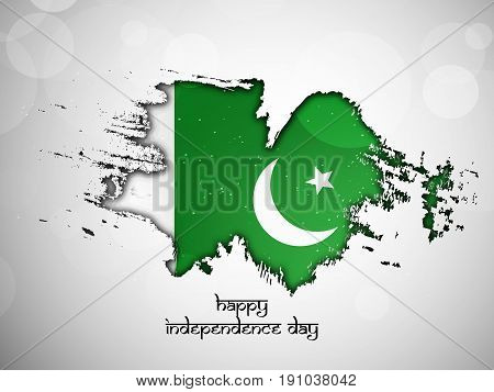 illustration of Pakistan Flag design with Happy Independence Day Text on occasion of Pakistan independence day